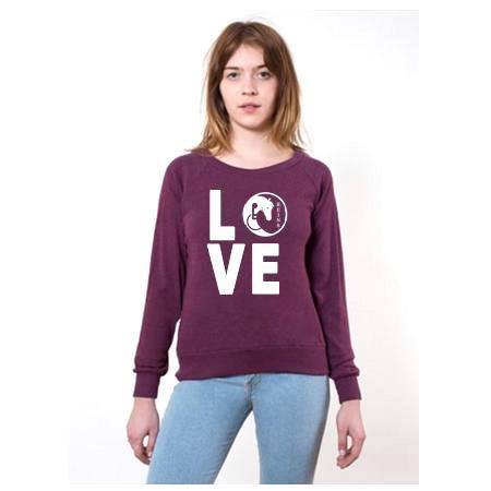 LOVE sweatshirt Tri Cranberry2
